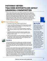Pathway Seven – Teacher Supports and Adult Learning Communities